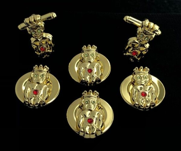 Royal Order of Jesters Button Covers Cuff Links Gold New