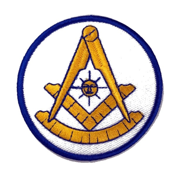 "Masonic Past Master Embroidered Patch - White with Square (3"")"