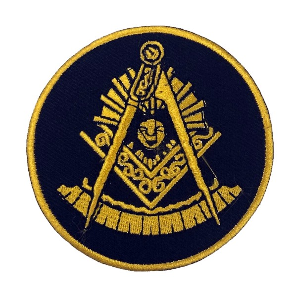"Masonic Past Master Embroidered Patch - Black with Square (3"")"