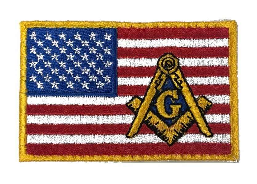 "Masonic U.S. Flag Embroidered Patch (3"")"