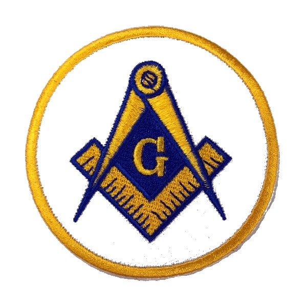 "Masonic White & Yellow Embroidered Patch (3"")"