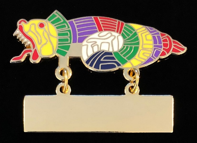 Order of Quetzalcoatl Enameled Metal Name Badge