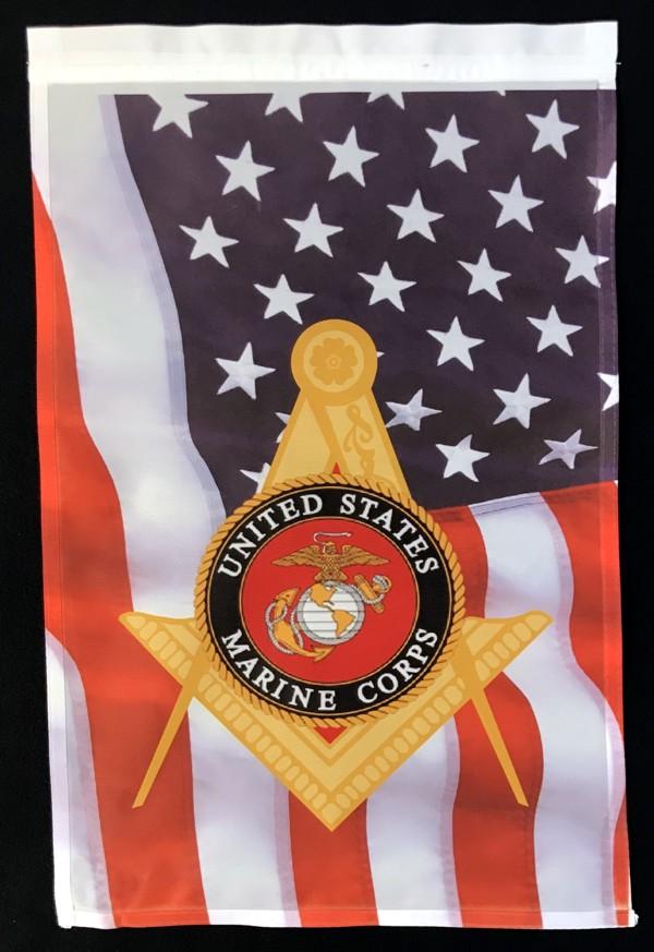 Masonic US Marine Corps Garden Flag