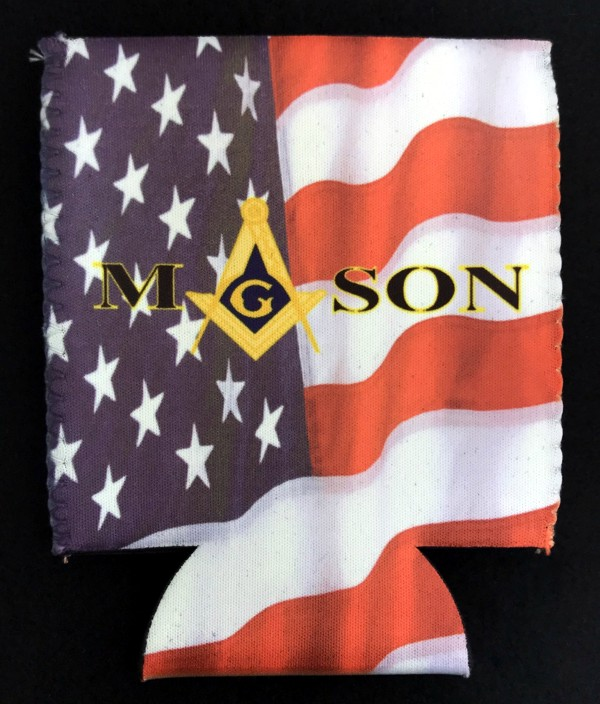 Masonic U.S. Flag Full Color Can Cooler - Style 2