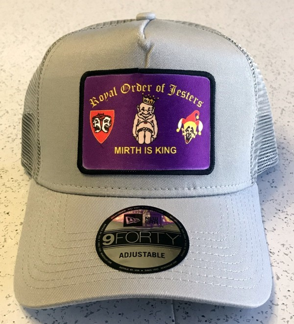 Royal Order of Jesters Cap in Gray with Rectangle Patch
