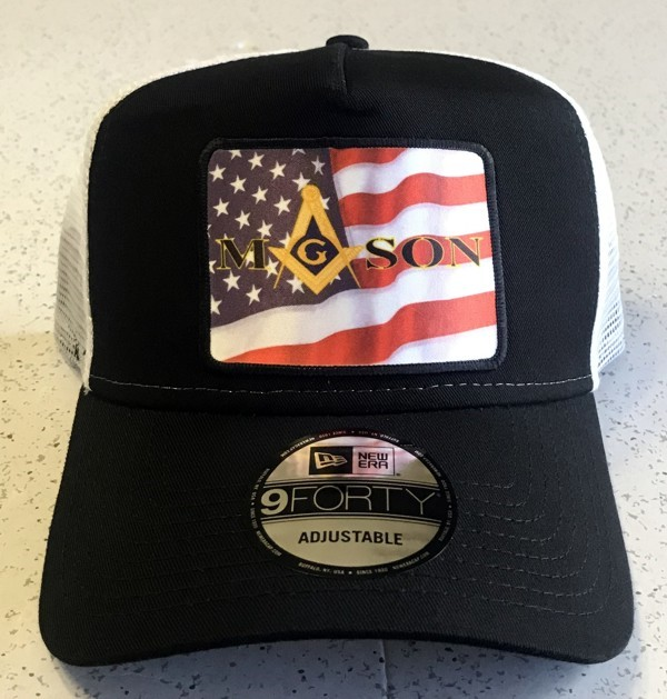 Masonic U.S.Flag Cap in Black & White - Style 2