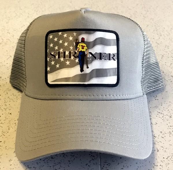 Shrine Shriner US Flag Cap Hat Gray New