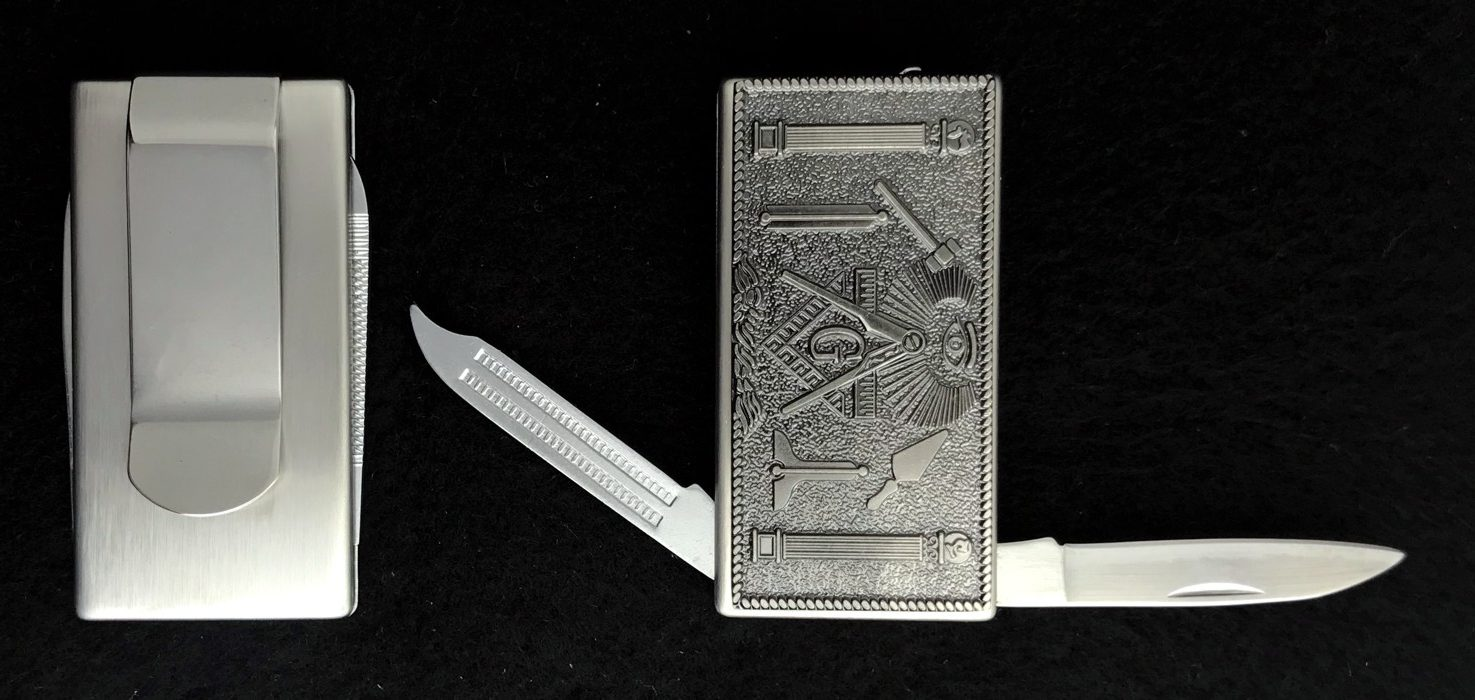 Masonic Money Clip with Knife & File