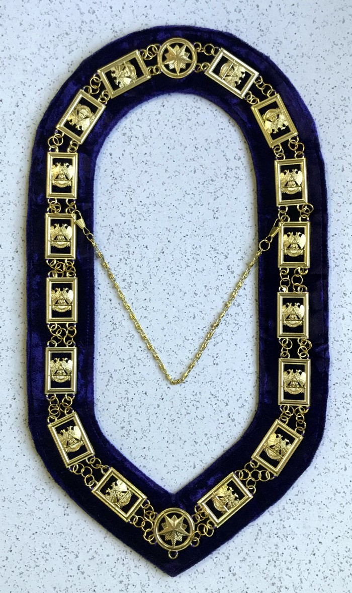 Scottish Rite Chain Collar in Gold (Wings Down-Style 2) - Purple Velvet Backing