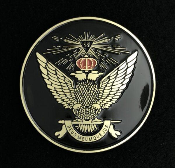 Scottish Rite 33rd Wings Up Auto Emblem Black