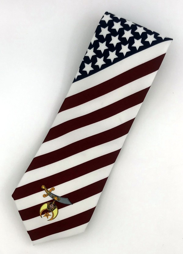 Shriner American Flag Necktie