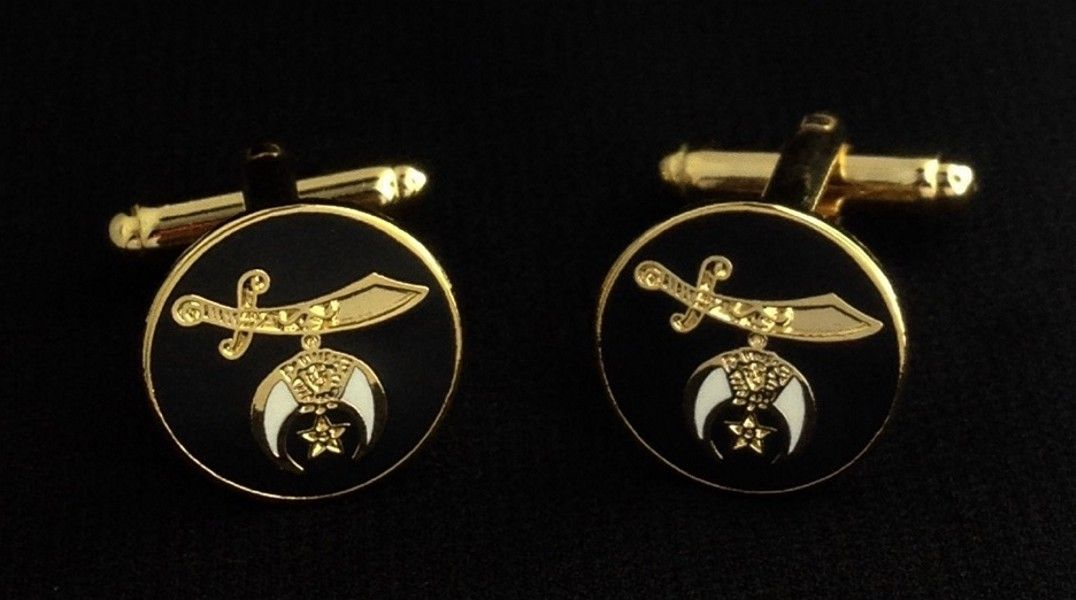 Shriner Cuff Link Set in Black & Gold