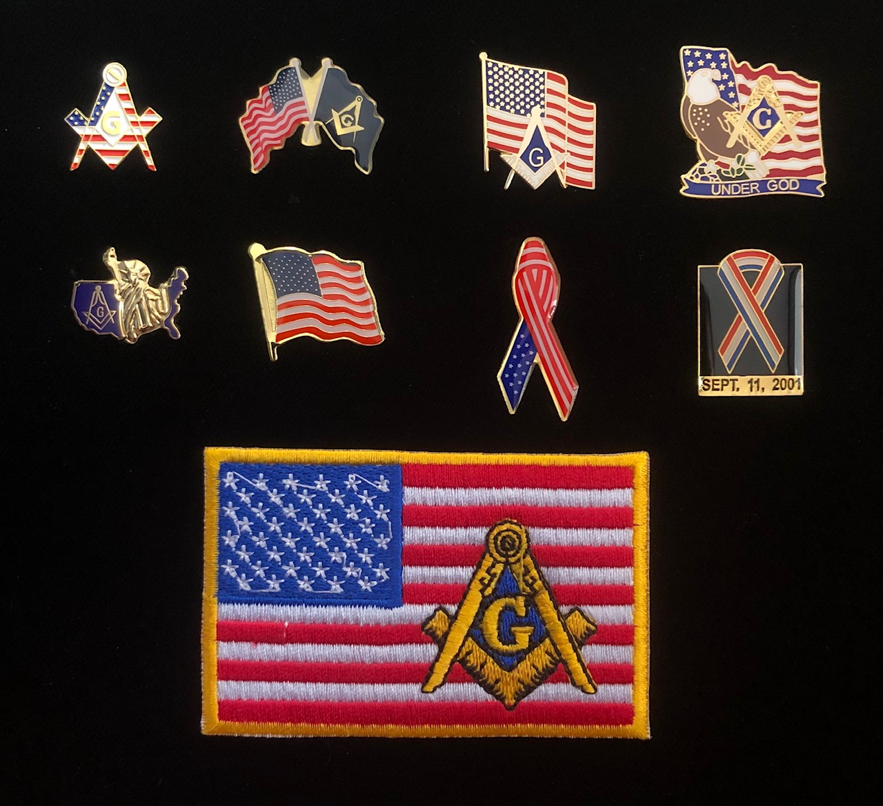Masonic Patriotic Lapel Pin & Patch Collection