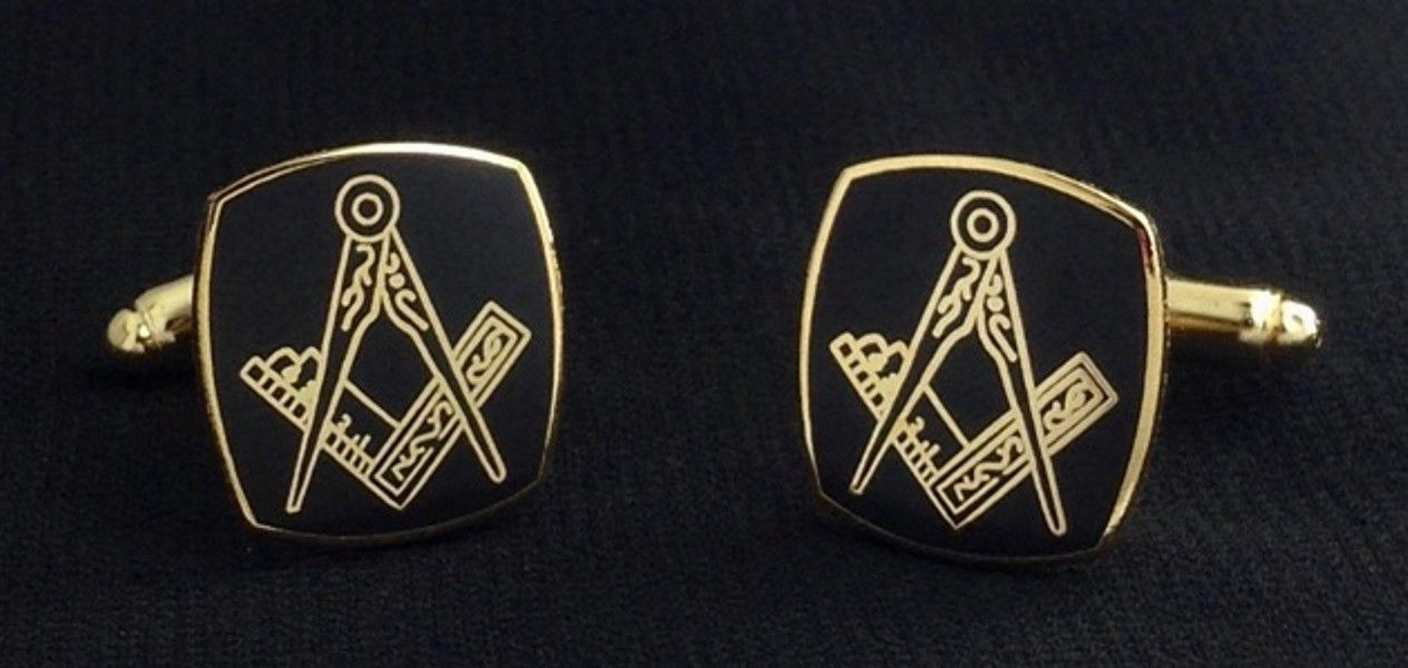 Masonic Cuff Link Set in Black & Gold