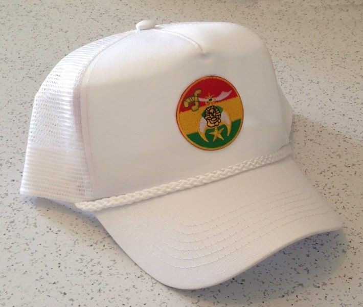 Shriner Cap in White with Round Emblem
