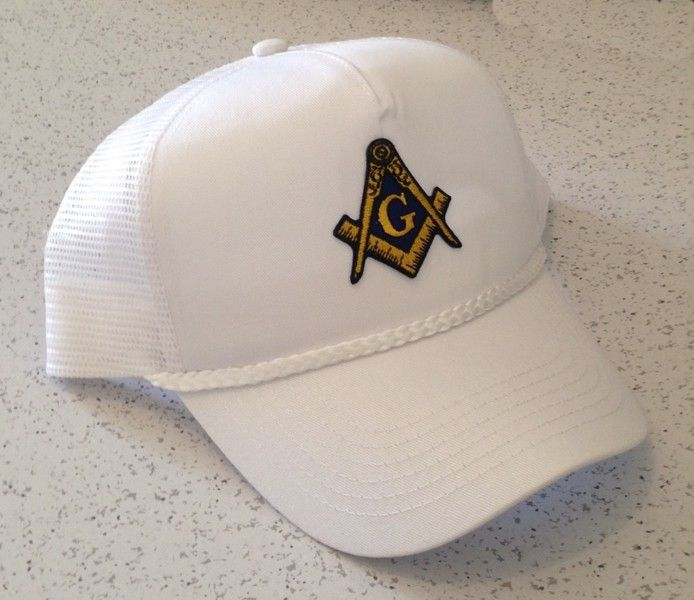 Masonic Trucker Style Cap in White