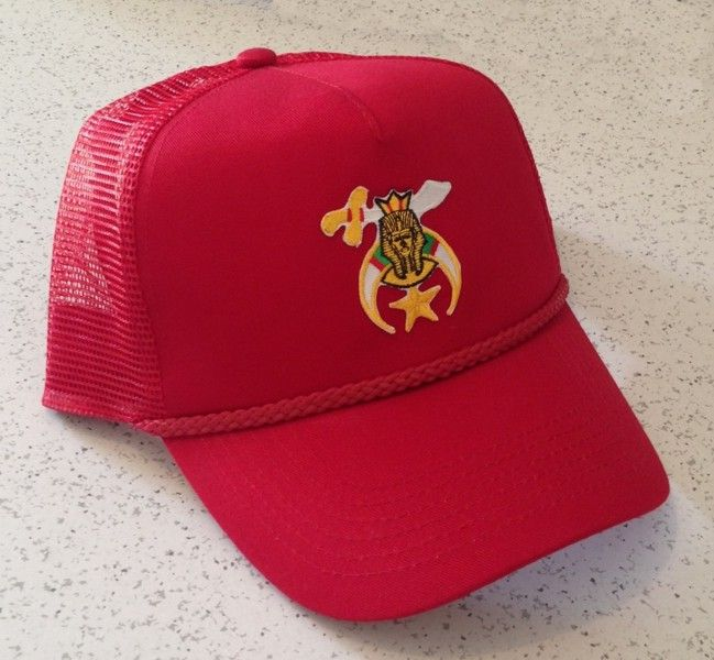 Shriner Cap in Red with Scimitar & Crescent Emblem