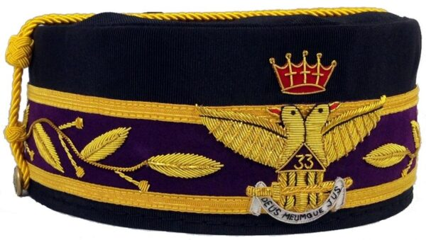 Scottish Rite 33rd Degree Cap Crown Wings Out Black New
