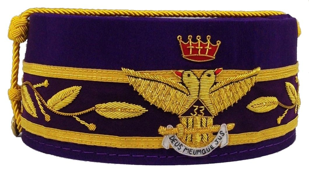 33rd Degree Scottish Rite Cap - Purple (Wings Out)