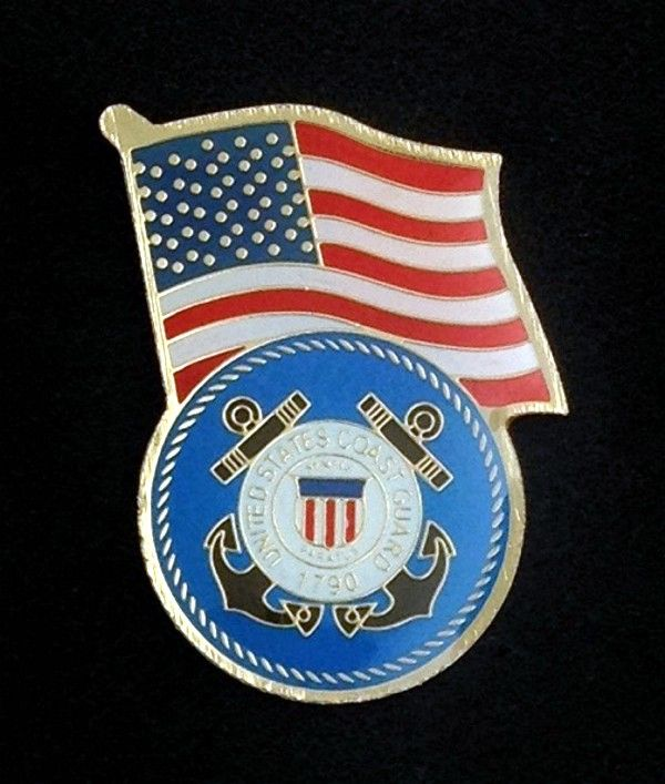 Coast Guard US Flag Lapel Pin New