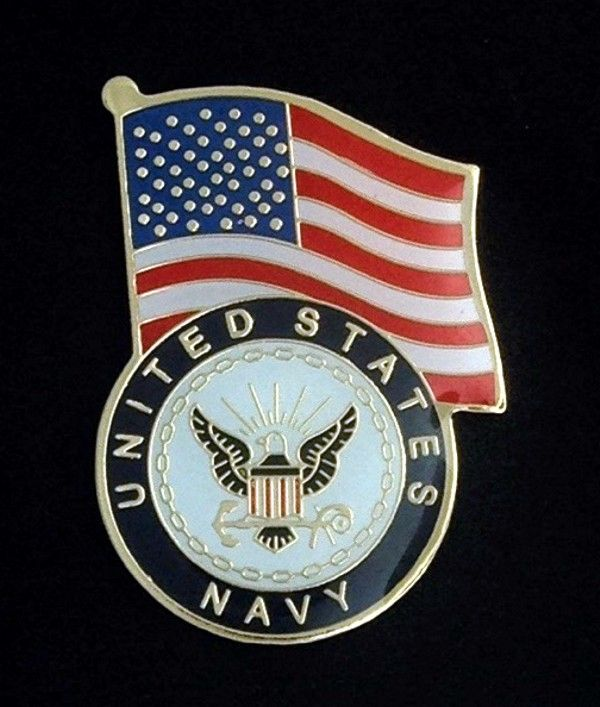 United States Navy with Flag Lapel Pin