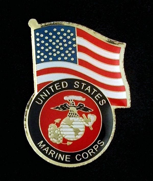United States Marine Corps with Flag Lapel Pin
