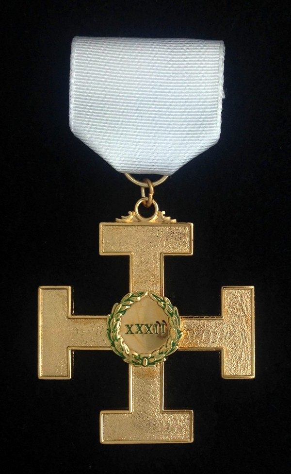 32nd Degree Jewel - Cross with White Ribbon
