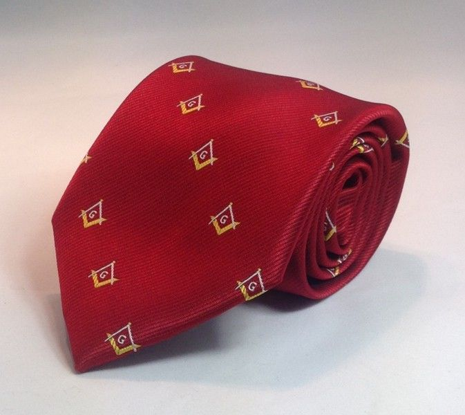 Masonic Square & Compasses Woven Necktie - Red/Gold