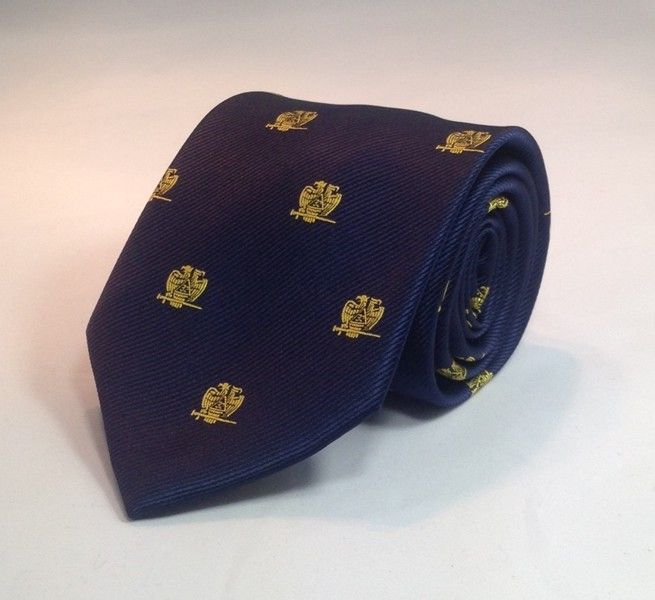 Scottish Rite 32nd Degree Woven Necktie - Navy Blue - Click Image to Close