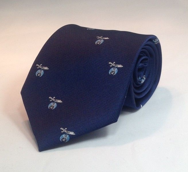 Shriner Scimitar & Crescent Woven Necktie - Navy/Light Blue