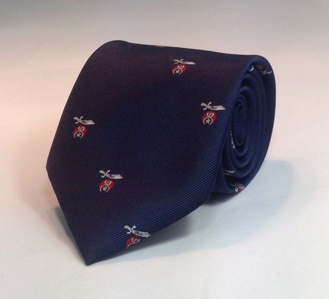 Shriner Scimitar & Crescent Woven Necktie - Navy/Red