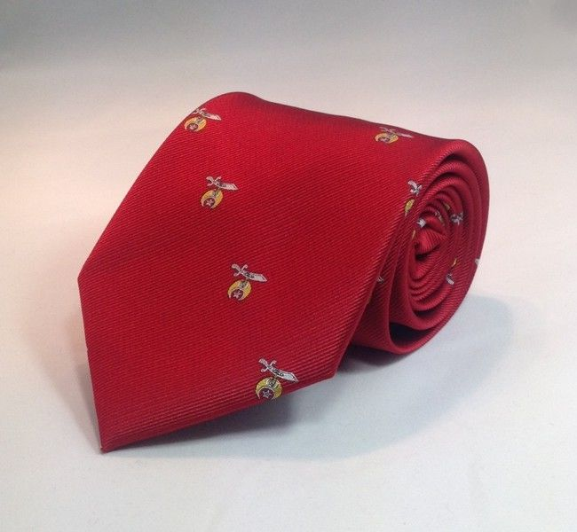 Shriner Scimitar & Crescent Woven Necktie - Red
