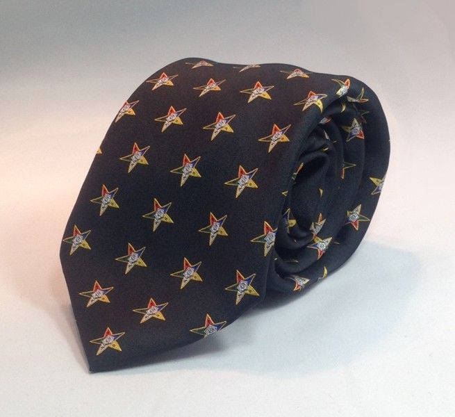 Order of the Eastern Star Woven Necktie - Black - Click Image to Close
