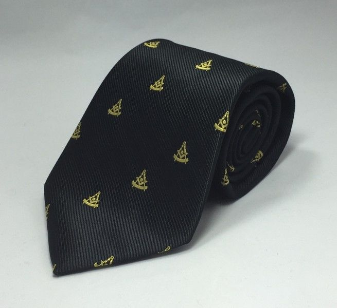 Past Master WITH Square Woven Necktie - Black
