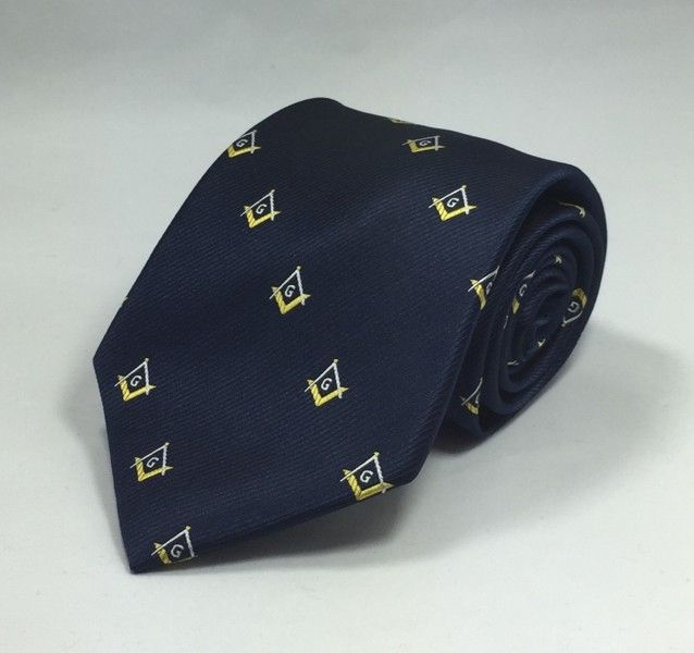 Masonic Square & Compasses Woven Necktie - Navy/Gold