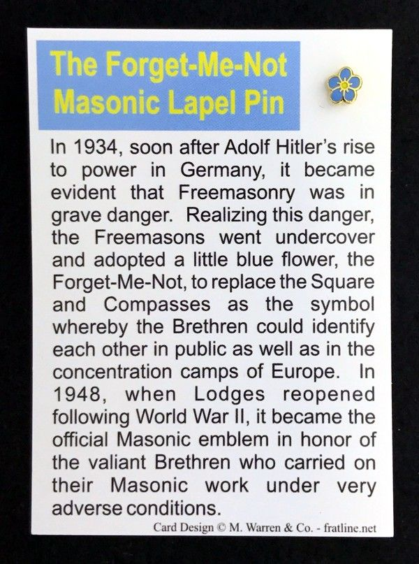 Masonic Forget Me Not Lapel Pin With Card New