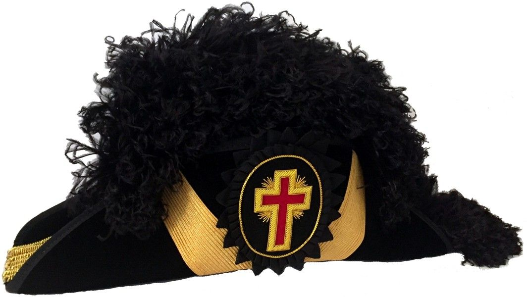 Knight Templar Past Commander Chapeau - Black Plume
