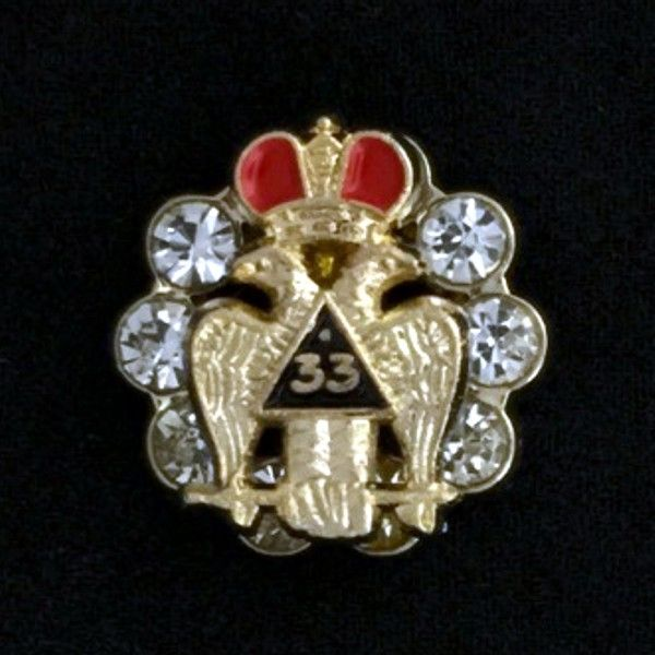 33rd Degree Eagle Lapel Pin - Style 3 with Crystals