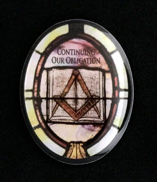 "Masonic ""Continuing Our Obligation"" Stained Glass Motif Lapel Pin"