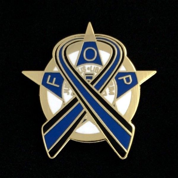 "Fraternal Order of Police ""Thin Blue Line"" Lapel Pin - Gold"