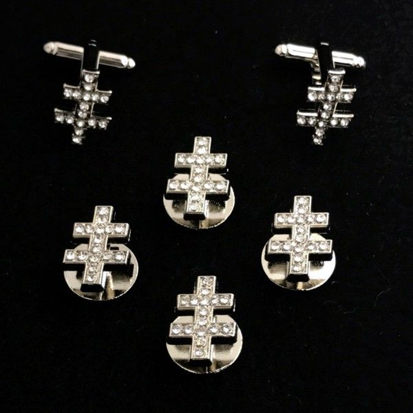 33rd Degree I.G.H. Shirt Stud & Cuff Link Set with Crystals