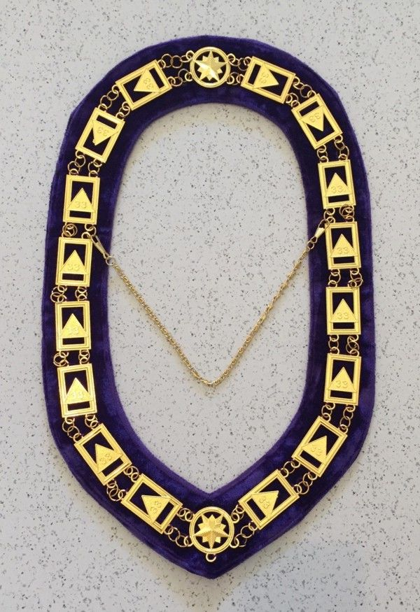Scottish Rite 33rd Degree Chain Collar in Gold - Purple Velvet Backing