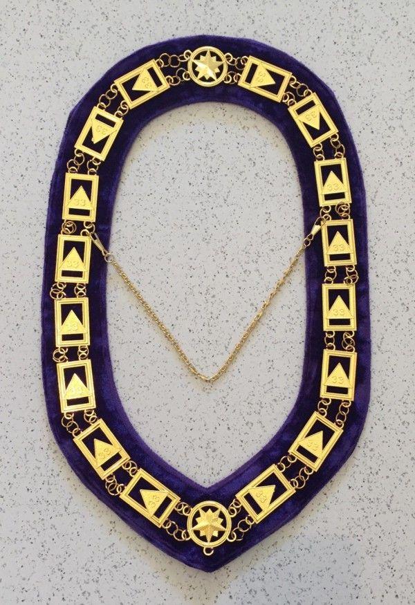 Scottish Rite 33rd Degree Chain Collar Gold Purple Velvet