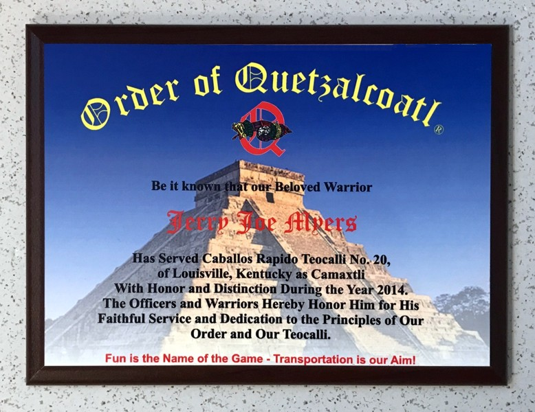 Order of Quetzalcoatl Customized Past Camaxtli Plaque