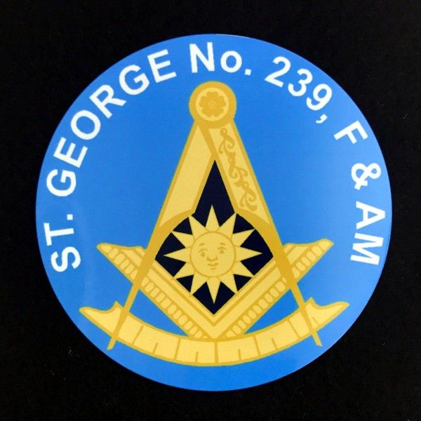 Custom Masonic Past Master Auto Emblem - Light Blue (Dozen)