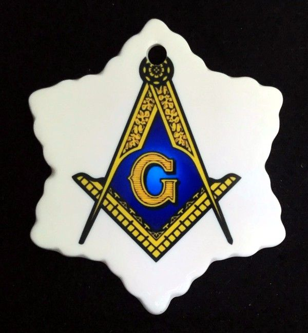Masonic Snowflake Ceramic Christmas Ornament