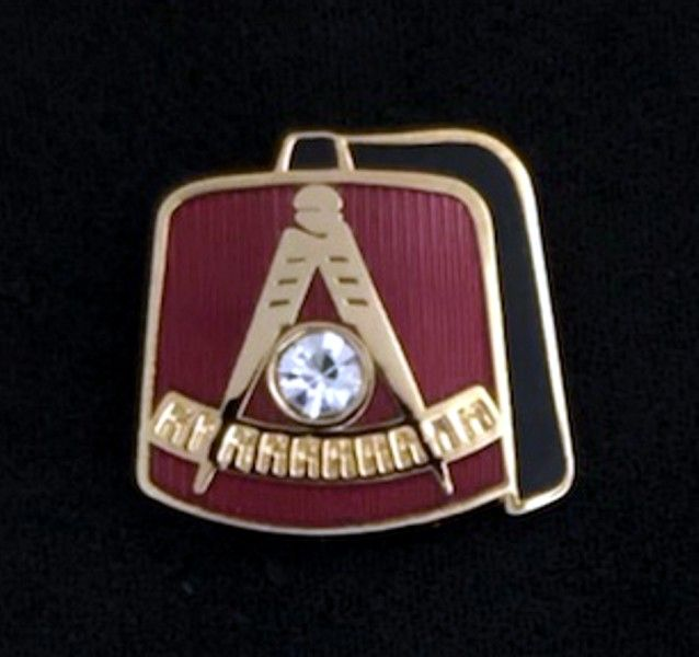 Shrine Past Master Fez Lapel Pin with Stone