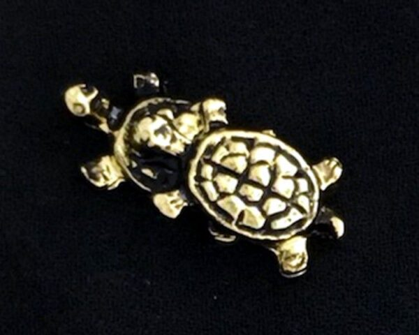 Two Turtles Lapel Pin Gold New