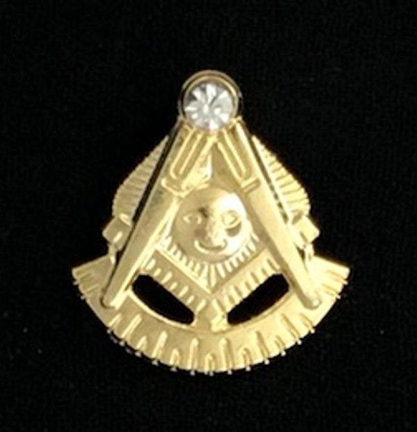 Masonic Past Master Lapel Pin with Stone