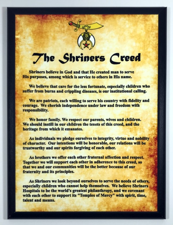 Shriner's Creed Full Color Plaque - Large